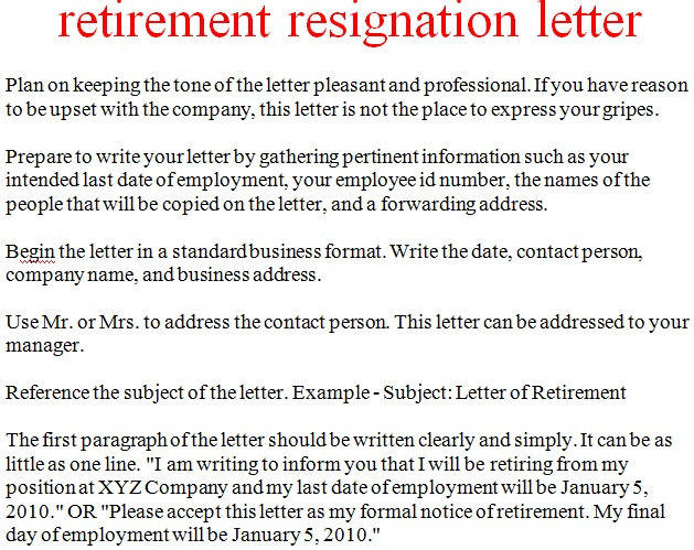 retirement resignation letter sample