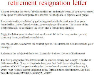 how to write a letter of retirement