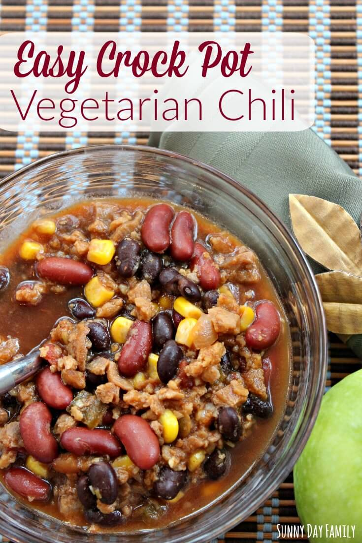 This easy crock pot chili recipe is perfect for busy Fall evenings! Your family will love this easy vegetarian slow cooker chili - simple, healthy, and delicious!