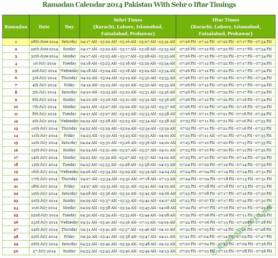 Calendar Eid : Ramadan pakistan calendar with timings