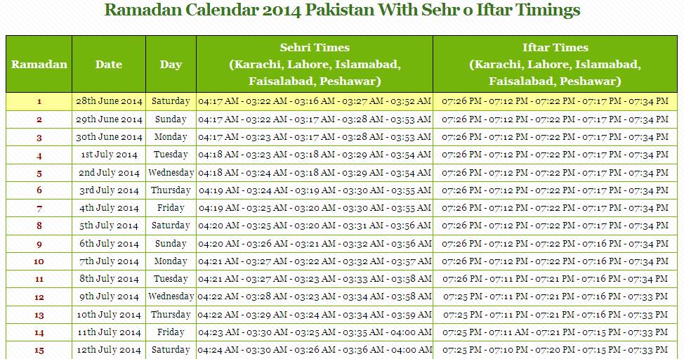 Ramadan 2016 Pakistan - Ramadan Calendar 2016 With Timings