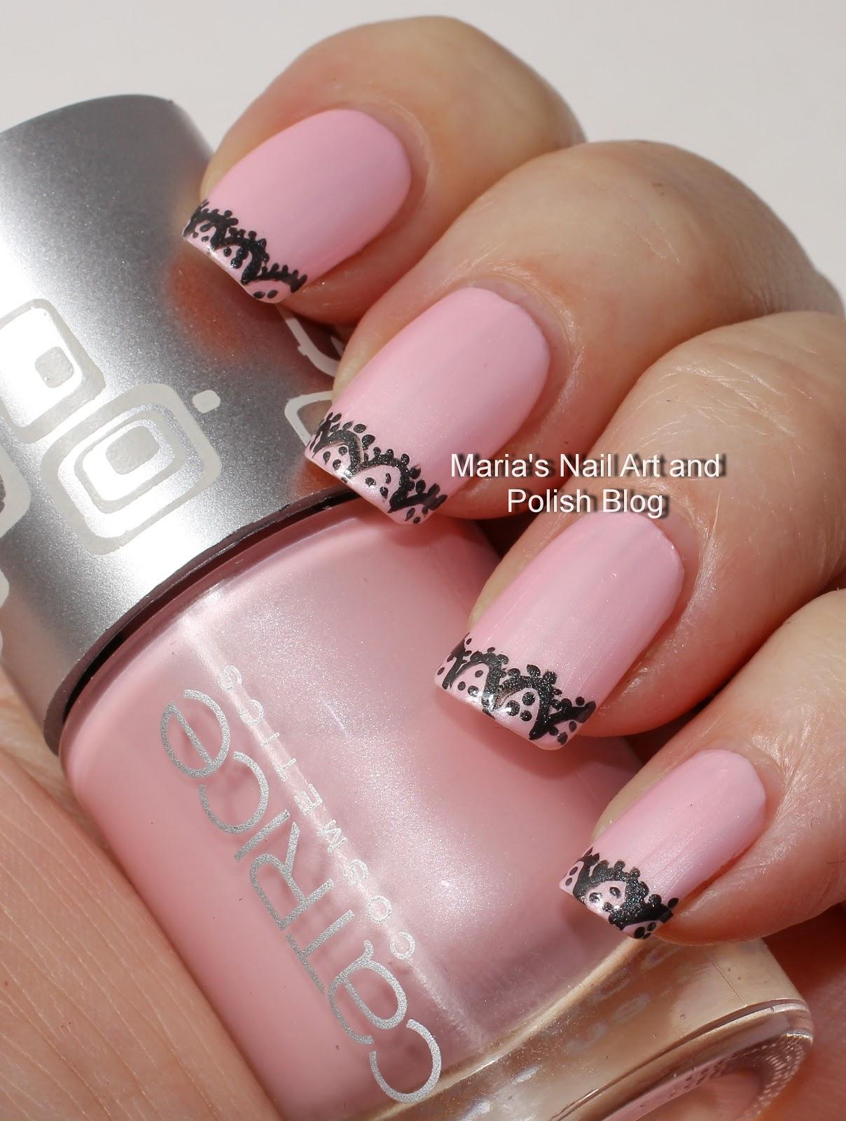 Marias Nail Art And Polish Blog Black Lace Nail Art On Another Pink
