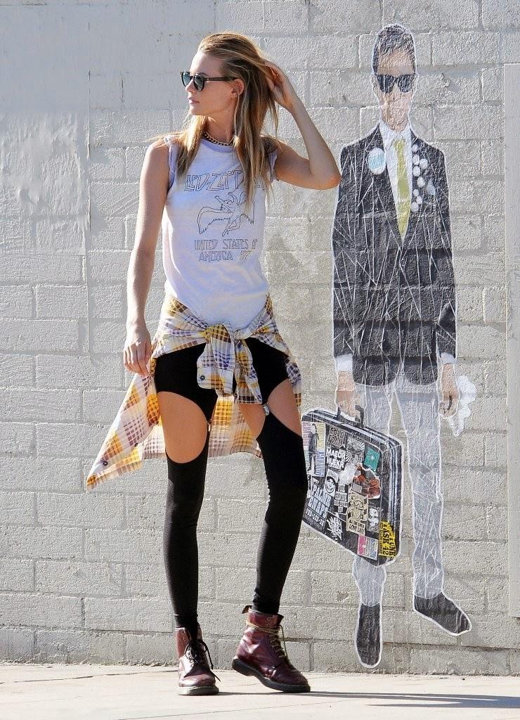 Behati Prinsloo on the set of a Maroon 5 music video in Los Angeles