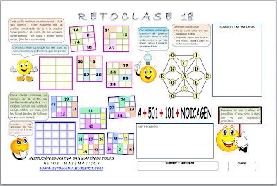 Retos Matemáticos, Desafíos Matemáticos, Problemas de Ingenio, Problemas de Lógica, Números Encasillados, Jeroglíficos, Buscapalabras