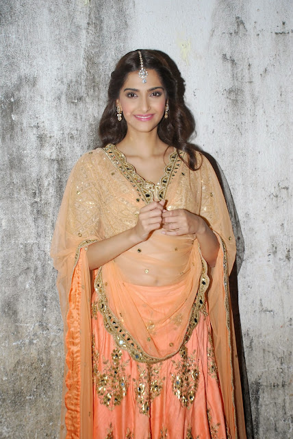 Sonam Kapoor in Beautiful Orange Transparent Ghagra Choli at Dolly Ki Doli Music Launch mumbai