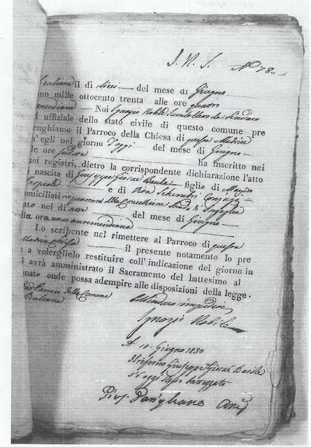 Atto di Nascita del Medico Garibaldino Dr. G. Basile (n° inv. A8)