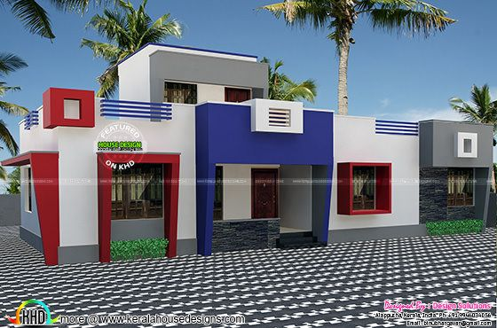 One floor flat roof home plan
