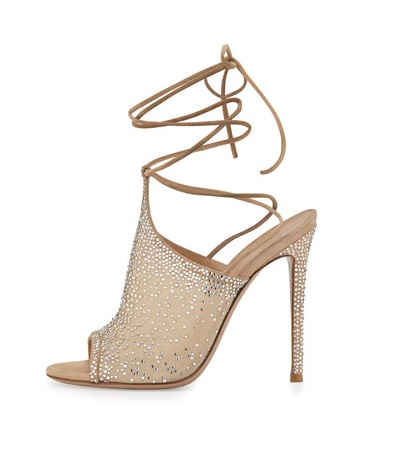 Gianvito Rossi High heels with mesh and embellishments