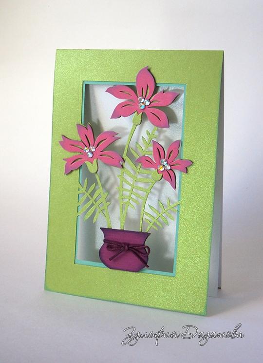 Открытка из цветной бумаги с цветами 70
