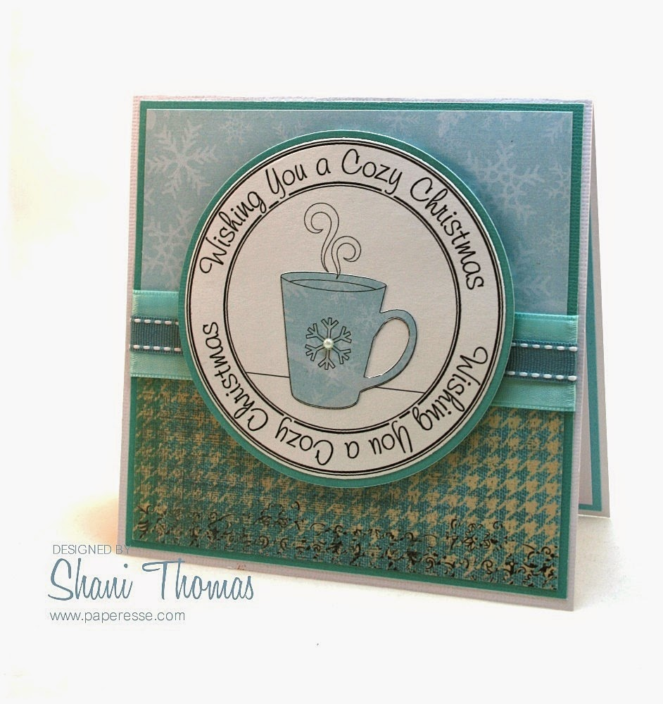 coffee cozy christmas card in nontraditional colors with free digital stamp - Free Digital Christmas Cards