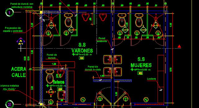 Detalle De Un Baño En Planta: tomemos un planta arquitectonica comun de baños de una industria
