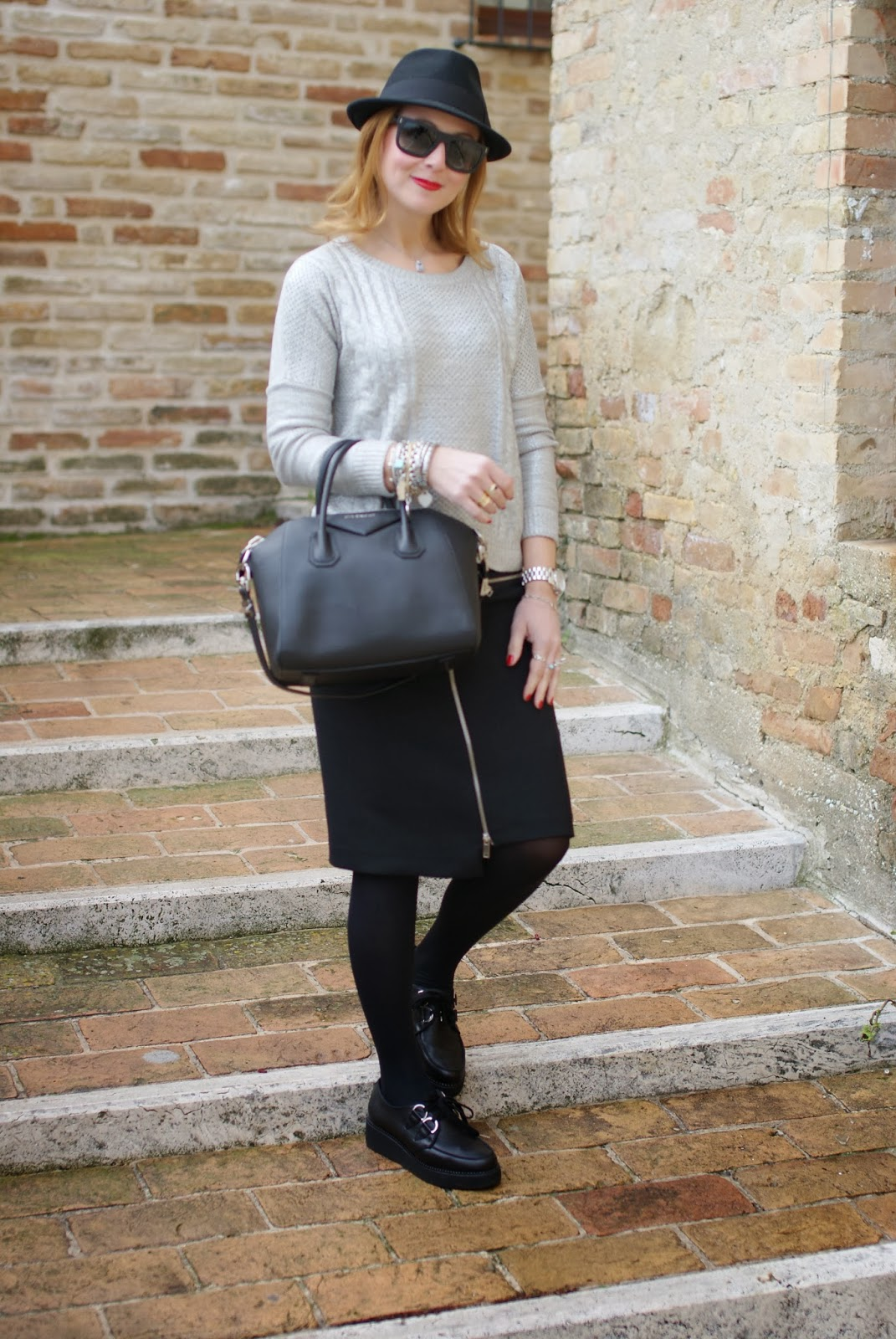 Zara zipper skirt, H&M fedora hat, Givenchy Antigona bag, Penelope creepers, Fashion and Cookies, fashion blogger
