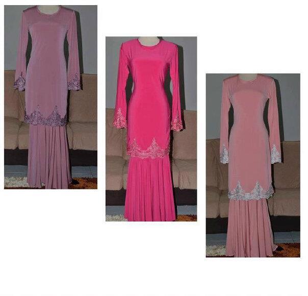 Contoh-contoh baju kurung menggunakan border lace.