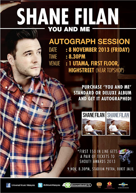 Shane Filan special appearance at THE SHOUT! AWARDS 2013 Autograph Session on 8 November 2013 @ 1 Utama, First Floor, Highstreet