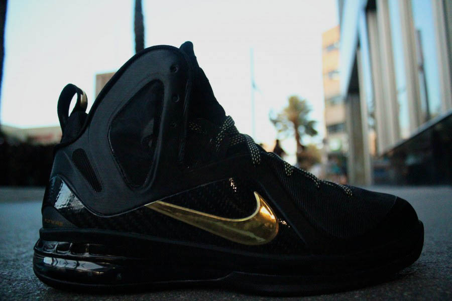 wholesale dealer 546a8 fa093 04 28 12 Nike LeBron 9 P.S. Elite  Away  516958-002 Black Metallic Gold- Black  250.00