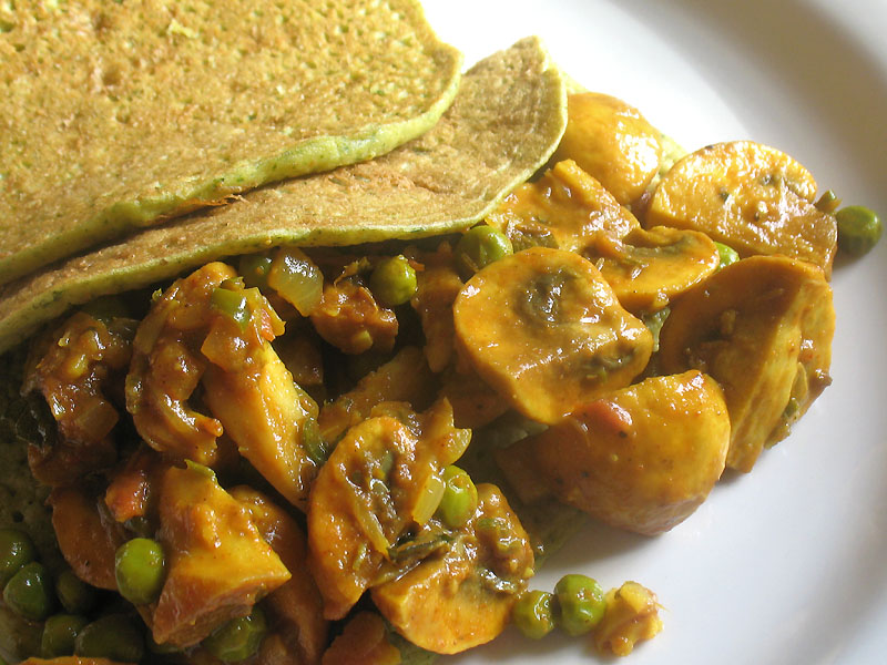 Spicy Mushroom Green Pea Curry Lisas Kitchen Vegetarian