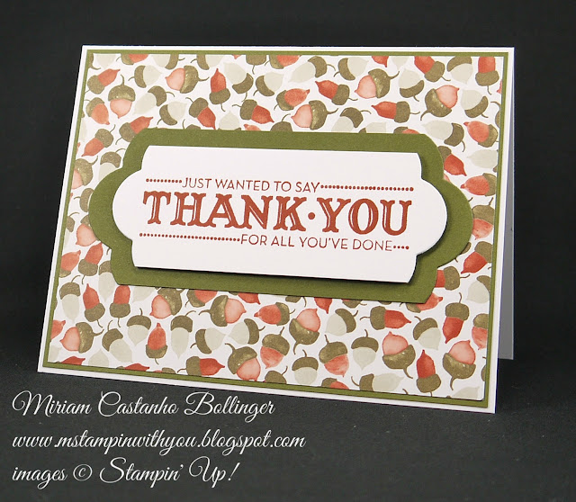 Miriam Castanho Bollinger, #mstampinwithyou, stampin up, demonstrator, dsc, thank you, color me autumn, big shot, lots of labels framelits, su