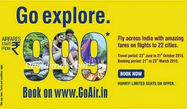 GoAir Go Explore All Inclusive Fares from Rs. 999