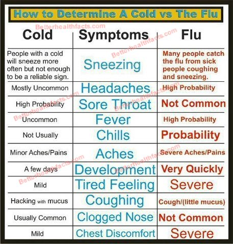 Flu symptoms how it differs from cold betterhealthfacts com