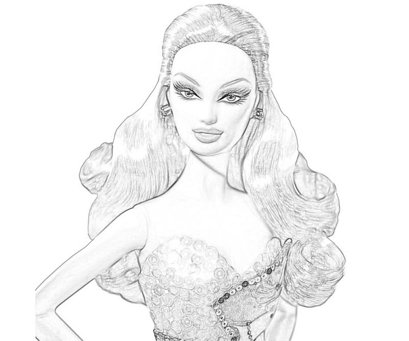 Fashion dolls free colouring pages for Barbie doll coloring pages