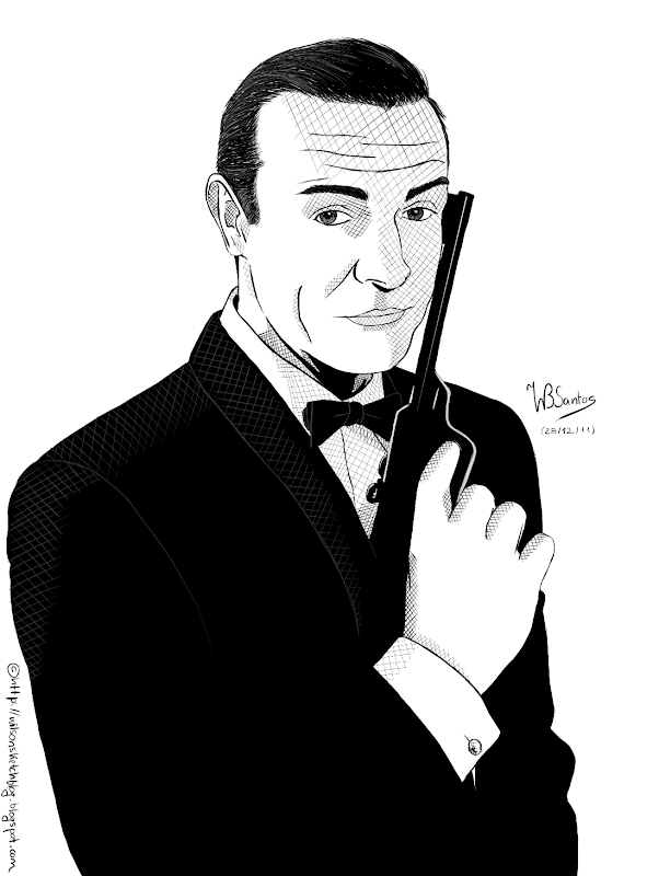 Drawing of Sean Connery as James Bond, using Corel Painter.
