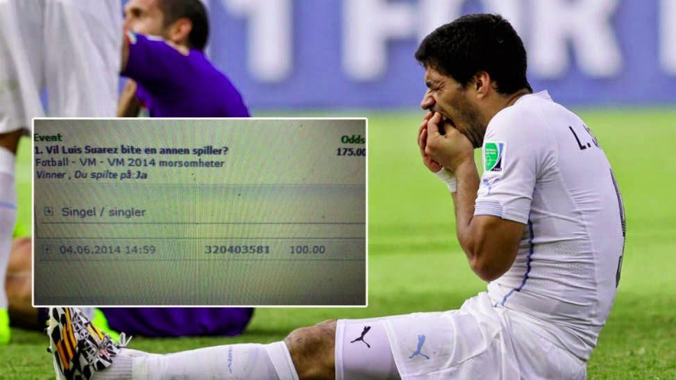 Norwegian punter wins £1,680 after backing Suarez to bite someone