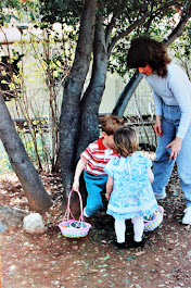 Piper with Jeremy and JoAnna on an Easter Egg hunt!