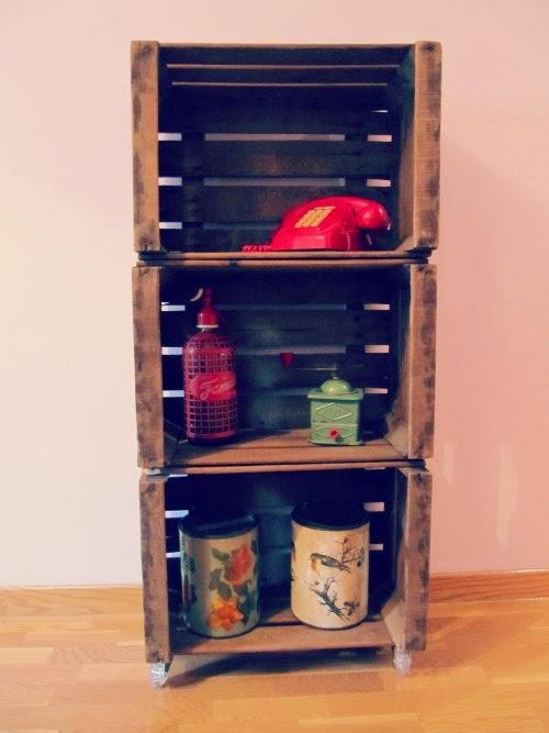 Estanteria con cajas de madera para fruta ideas chulas - Estanterias con cajas de fruta ...