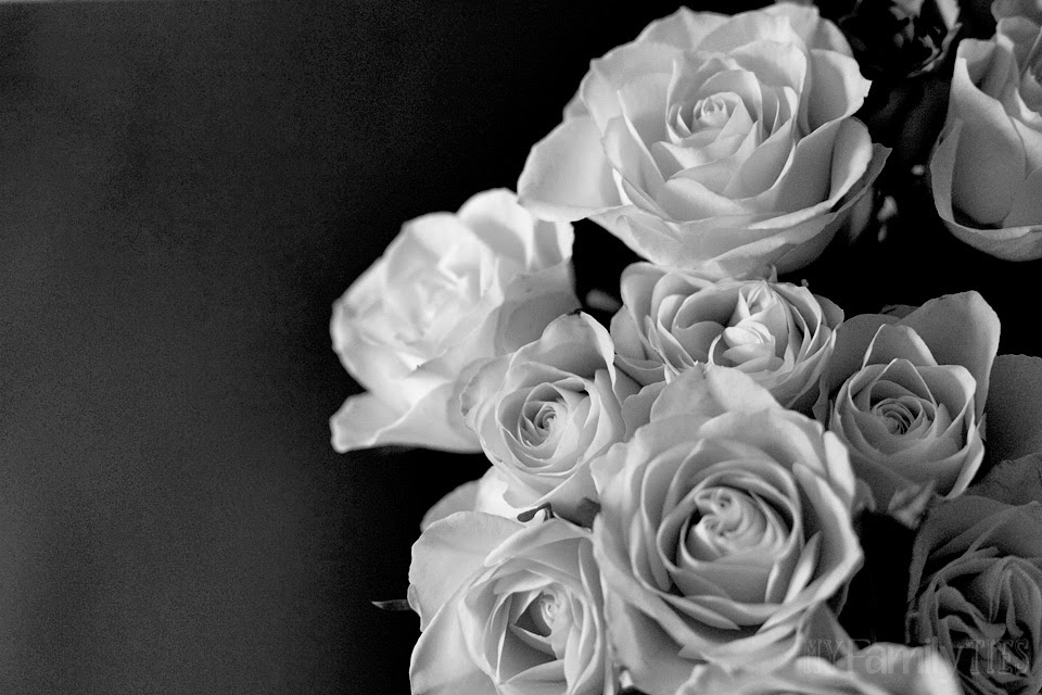 Black and white photo of a bunch of roses
