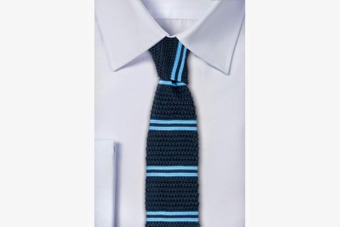 Krawat z dzianiny w poziome paski - yoos.pl