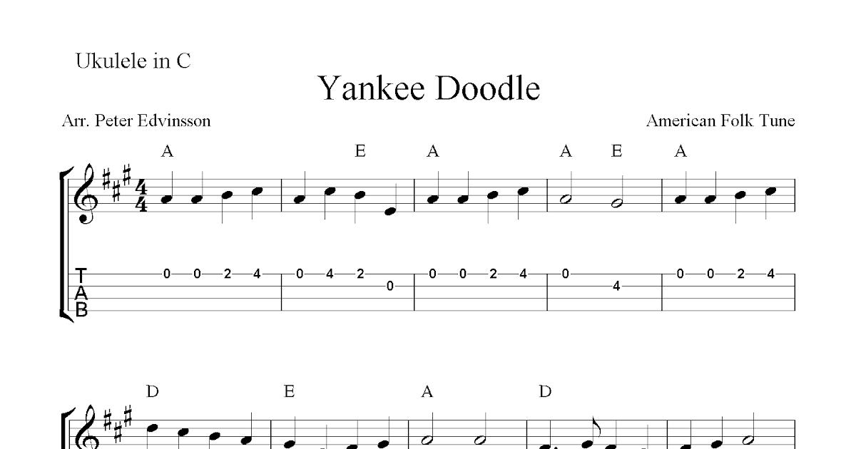 Yankee Doodle, free ukulele tabs sheet music