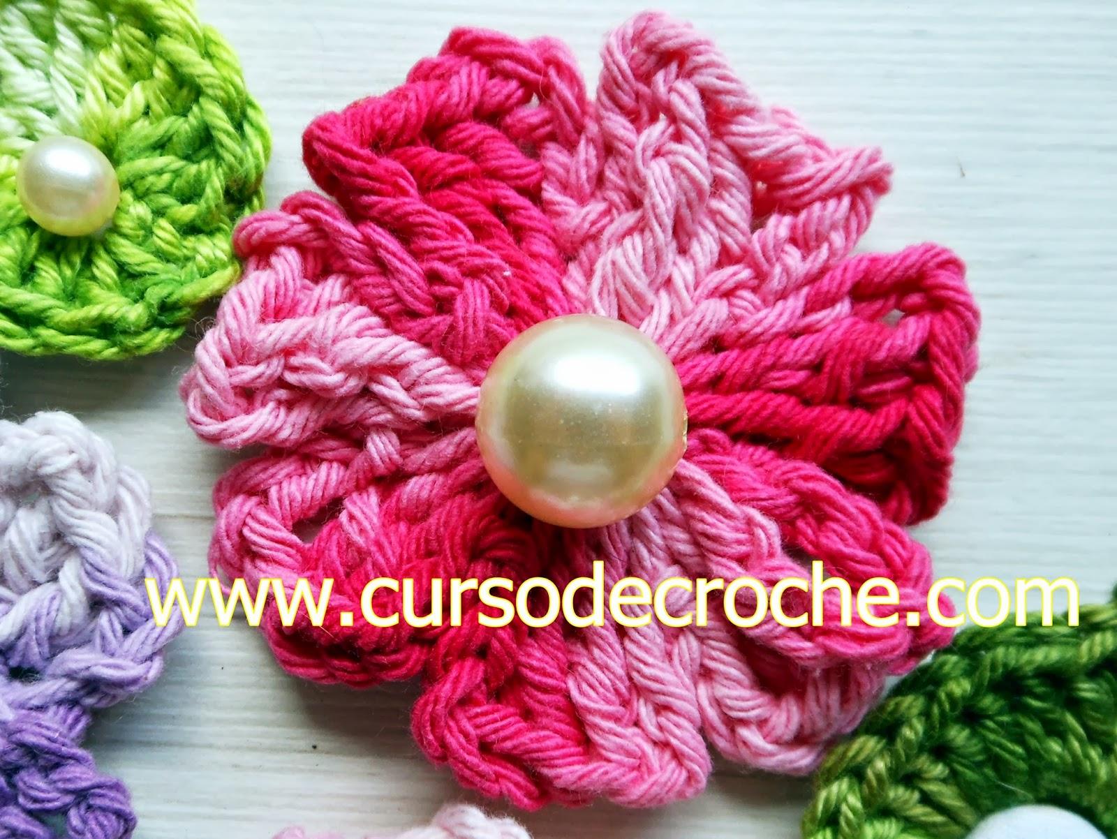 flores em croche zás-trás da coleção aprendi e ensinei com Edinir-Croche