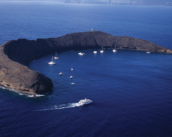 Perfect crescent shape in the sea the sunken molokini crater