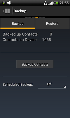 Norton Mobile Security: Backing up contacts