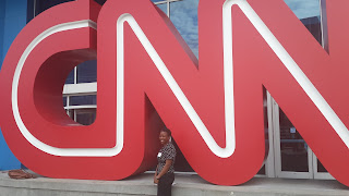 Sara outside the CNN Centre