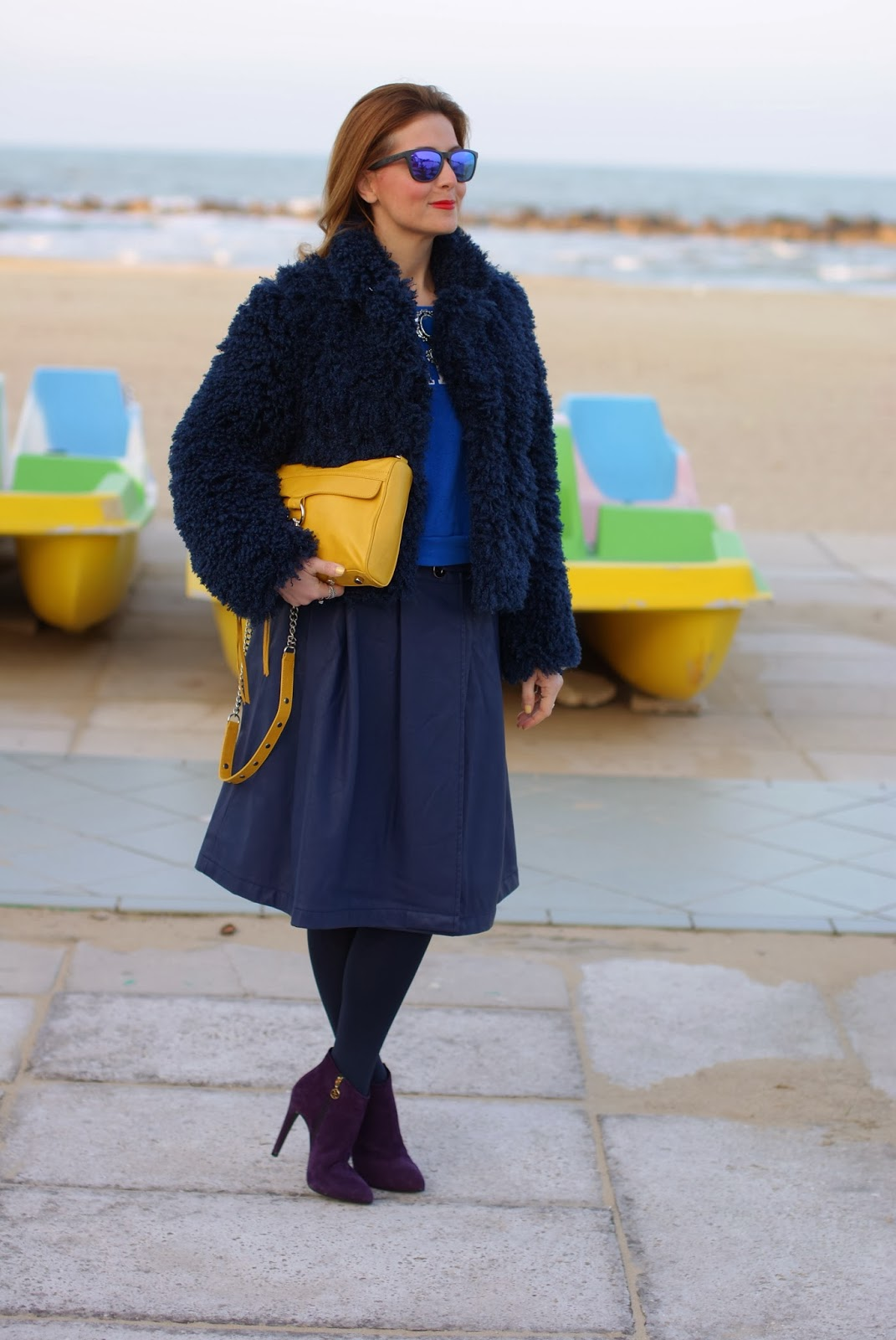 So Allure faux fur jacket, Fabi shoes, Rebecca Minkoff yellow mac clutch, Fashion and Cookies, fashion blogger