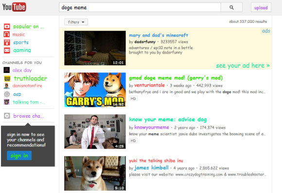 Google Operating System Youtube Easter Egg For Doge Meme