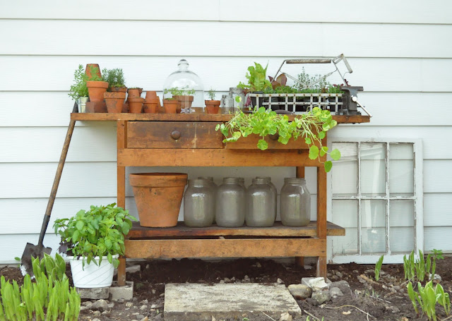 Re-purpose a work bench as a potting bench