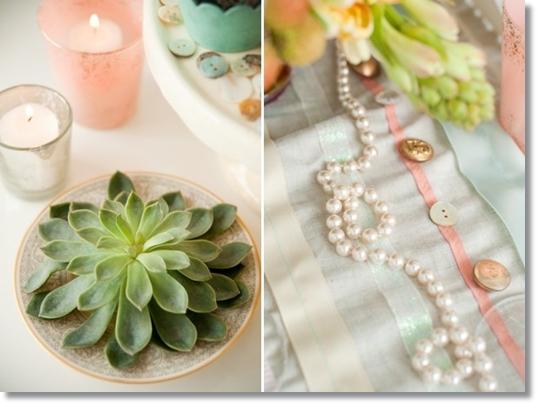 dukning succulenter, dukning taklökar, tabel setting succultents