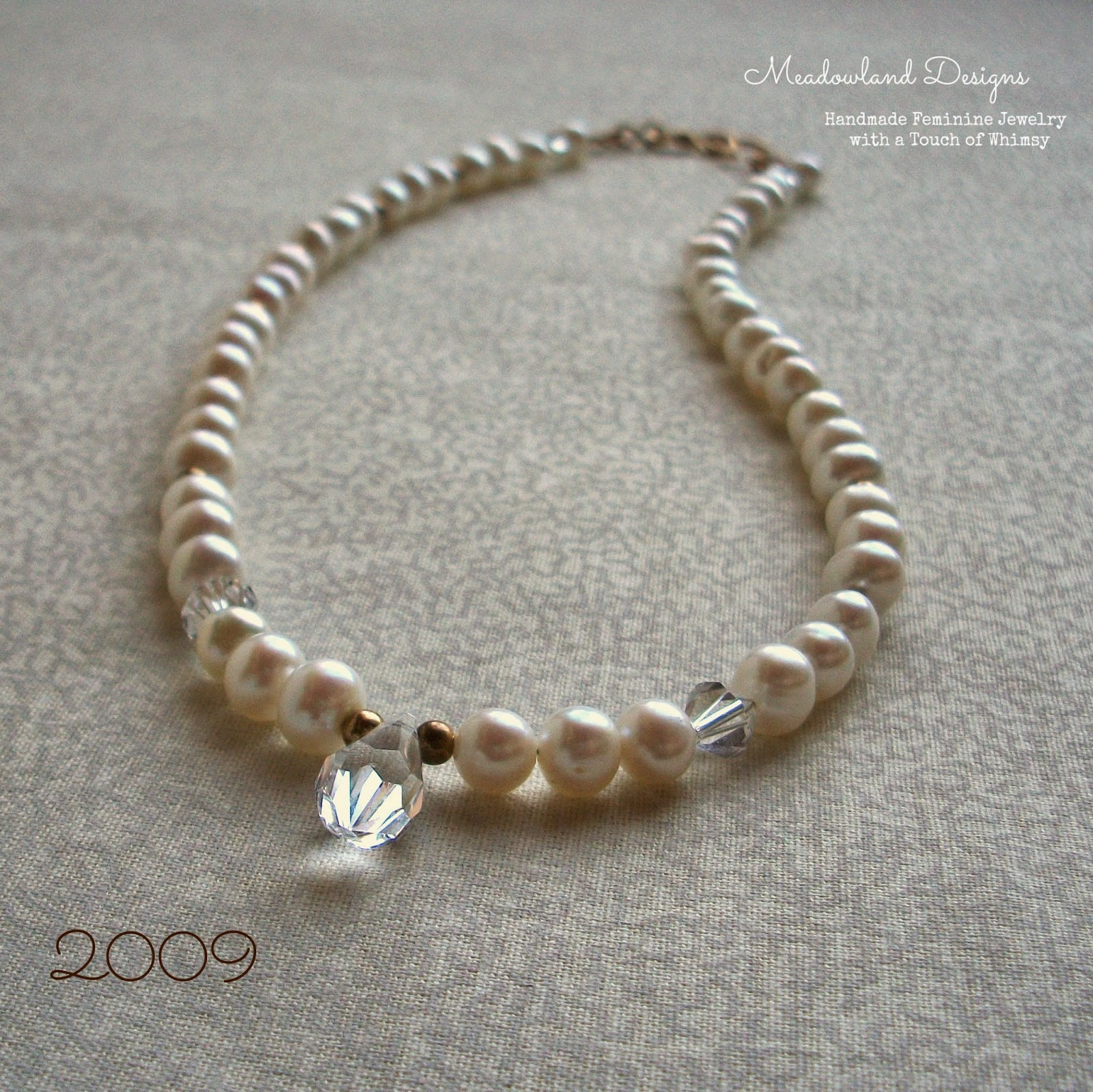 Strung Pearl Necklace with Crystals, 2009
