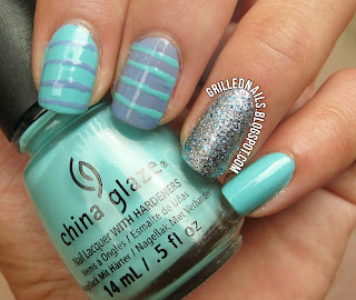 summer cute nail art stripes glitter china glaze lorelei's tiara blog