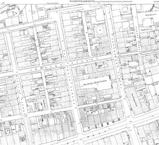 Large scale map snip showing Sunderland Street, East Cross Street and William Street in 1857.