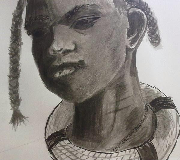 cabeza africana con tinta