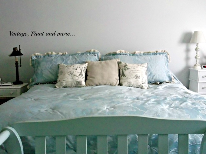 Updated Mater Bed - using drop cloth fabric to embellish a comforter set, decorator pillows in the bedroom, blue bedroom