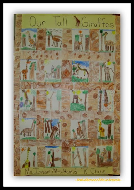 "Crayon Quilt Drawings by Kindergarten Students in Response to ""Tall Giraffe"""