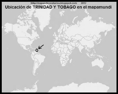 El Mundo. Ubicacion de TRINIDAD Y TOBAGO en el mapamundi, OpenStreetMap, blanco y negro