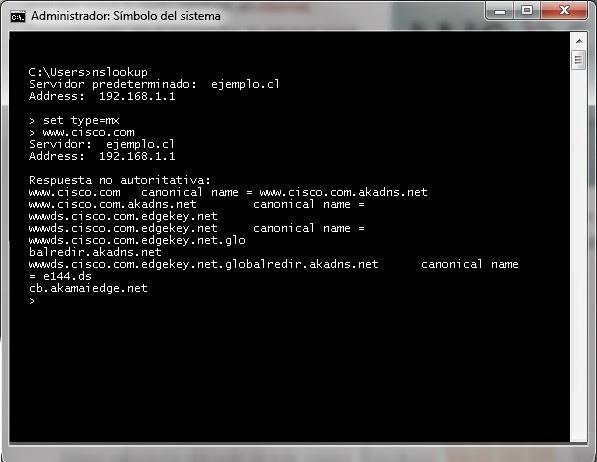 nslookup mx windows 7