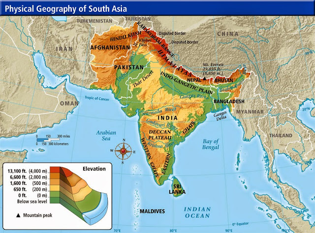 Topographic South Asia physical map