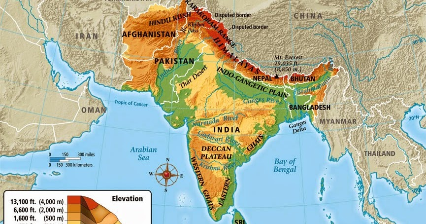 South Asia Physical Maps Free Printable Maps