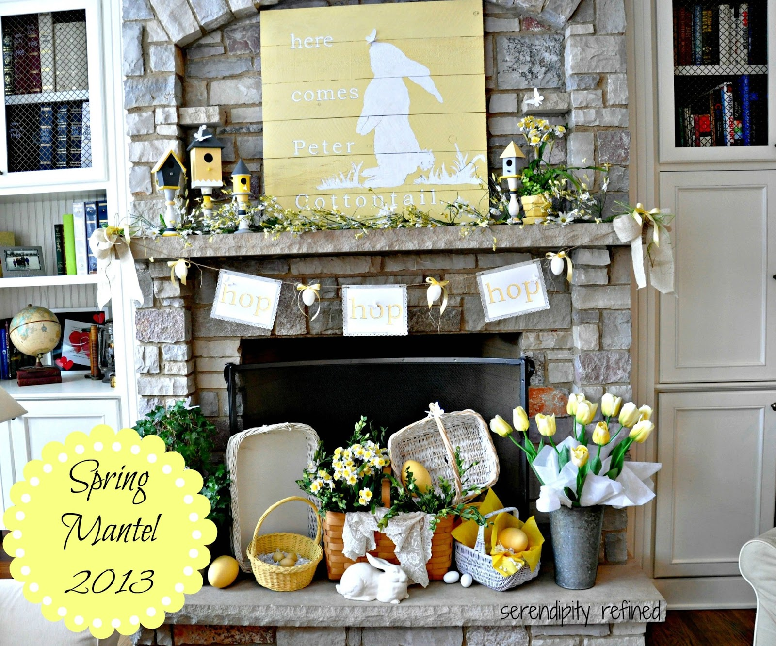 Serendipity Refined Blog Yellow And White Spring Bunny Mantel